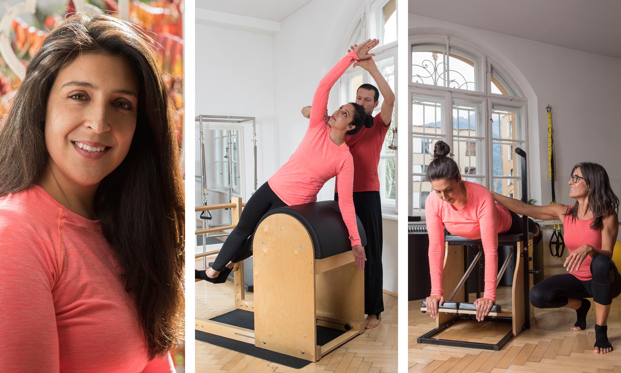 Claudia Wille Pilates Übung (Fotocollage mit Geräten und Trainern)